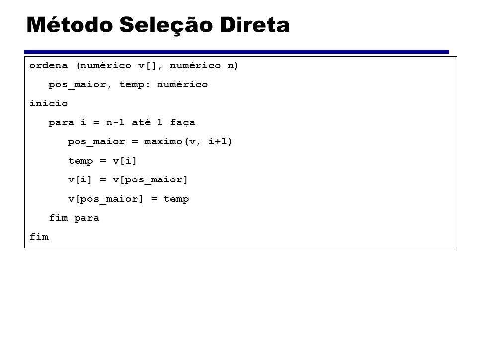Método Seleção Direta ordena (numérico v[], numérico n)